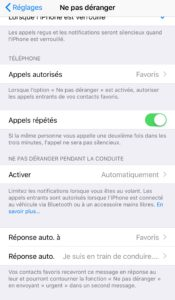 Mode conduite iOS 11 iPhone