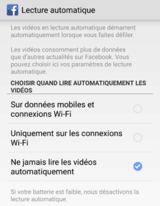 désactiver lecture automatique des vidéos dans facebook