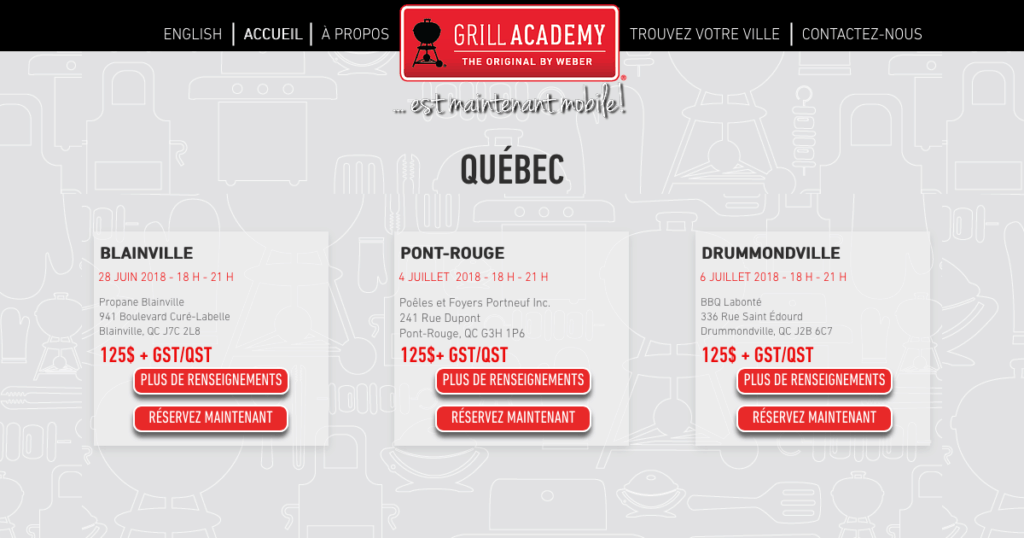 Cours Grill Academy Québec Weber BBQ